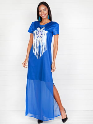 Платье ярко-синее с принтом | 4293994
