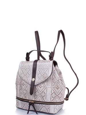Рюкзак бежево-коричневый с рисунком   4301464