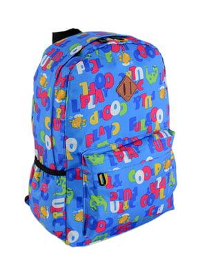Рюкзак блакитний в принт | 4305418