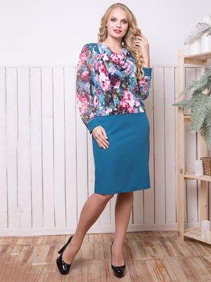 Сукня блакитна в принт - ALL POSA - 4314794