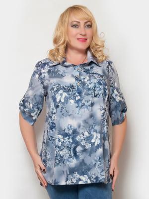 Блуза синя в квітковий принт | 4324363