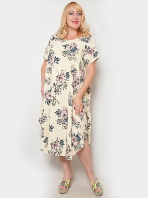 Сукня світло-жовта в квітковий принт | 4324391