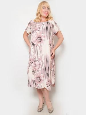 Платье цвета пудры в цветочный принт | 4324395
