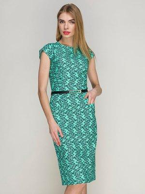 Платье бирюзовое в принт | 4202006