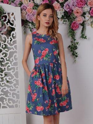 Платье синее в цветочный принт   4238599
