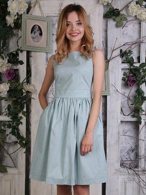Платье цвета мяты в мелкий горошек   4311674