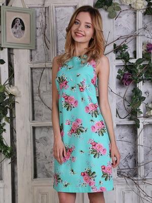 Платье бирюзовое в цветочный принт | 4323500