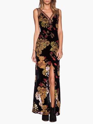 Платье черное в цветочный принт | 4300000