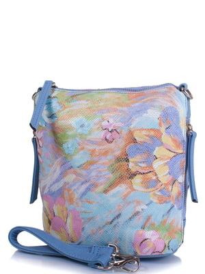Сумка голубая в цветочный принт | 4327271