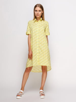Сукня-сорочка жовта в принт | 4327334