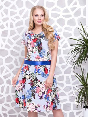 Сукня блакитна з квітковим принтом - ALL POSA - 4332323