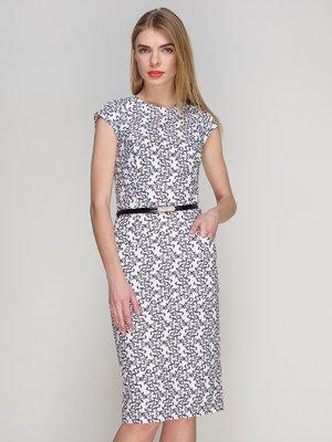 Платье белое в принт | 4202007