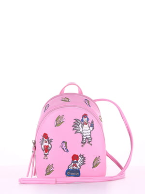 Рюкзак рожевий з вишивкою - Alba Soboni - 4334565