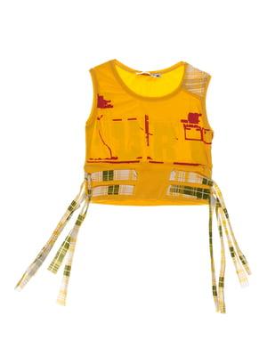 Майка жовта з принтом і зав'язками | 1076809