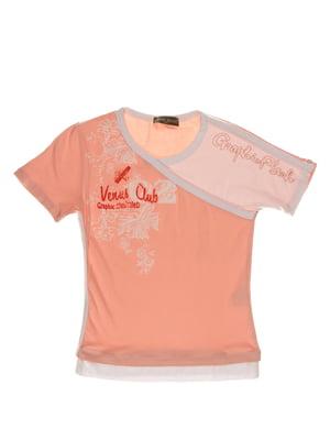 Футболка рожева з принтом | 3168551