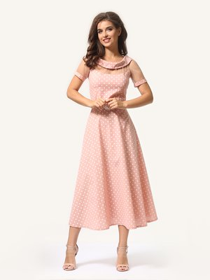 Платье цвета пудры в горошек | 4341452
