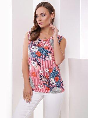 Блуза в комбинированный принт   4342528