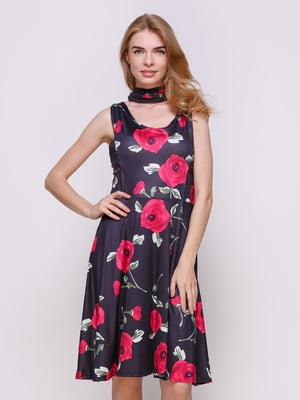 Сукня чорна в квітковий принт | 3575693