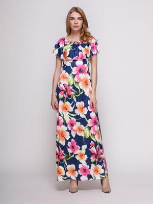 Платье темно-синее в цветочный принт | 4166860