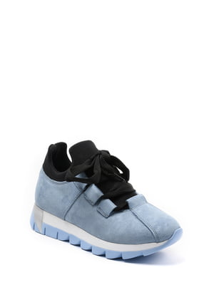 Кроссовки черно-голубые | 4269653