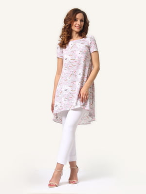 Туніка рожева в квітковий принт | 4347616