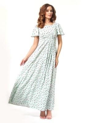 Сукня м'ятного кольору в квітковий принт | 4347635