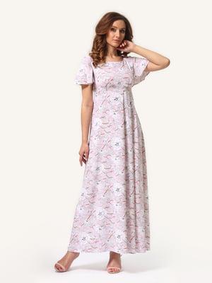 Платье розовое в цветочный принт | 4347636