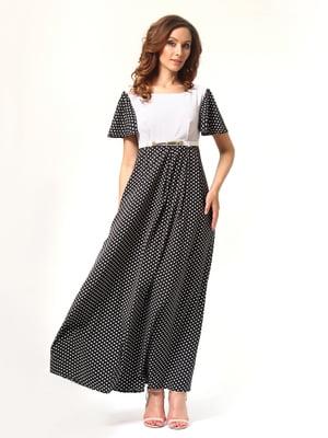 Сукня чорно-молочного кольору в дрібний горошок | 4347644