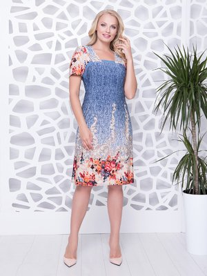 Сукня джинсового кольору з принтом | 4350855