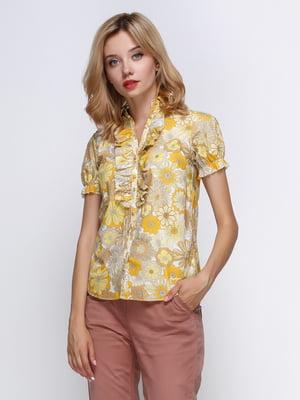 Блуза жовта в квітковий принт   4349521