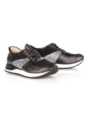Кросівки з натуральної шкіри чорні з срібною вставкою | 4189850