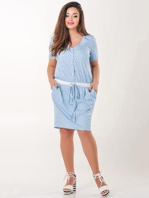 Сукня блакитна в горох | 4345346