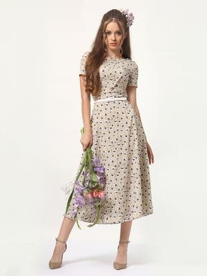 Платье бежевое в цветочный принт | 4365907
