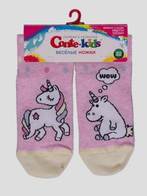 Шкарпетки світло-рожеві з малюнком | 4366799