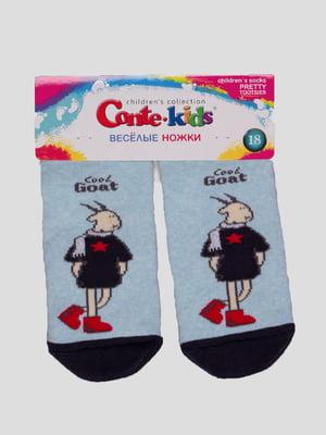 Шкарпетки світло-бірюзові з малюнком махрові | 4366774