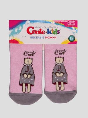 Шкарпетки світло-рожеві з малюнком махрові | 4366773