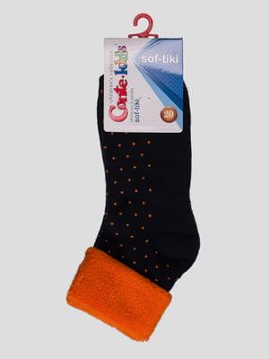 Носки сине-оранжевые махровые | 3750320