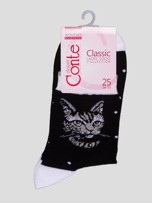 Шкарпетки чорні з малюнком | 4366514
