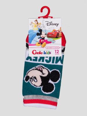 Шкарпетки темно-бірюзові з малюнком | 4366808