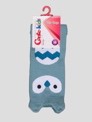 Носки светло-бирюзовые с рисунком | 4366717