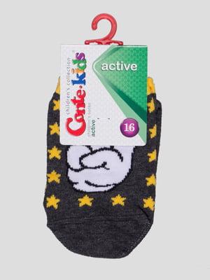 Шкарпетки темно-сірі з малюнком | 4366781