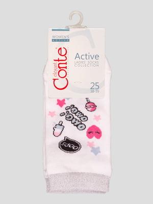 Носки белые с рисунком | 4366496
