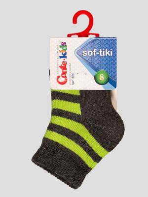 Шкарпетки сіро-салатові махрові | 3750350