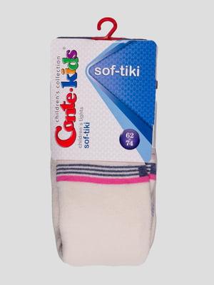 Колготки молочного кольору в смужку | 3750147