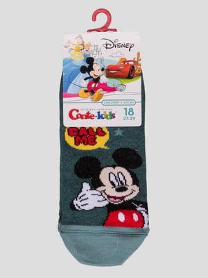 Носки темно-бирюзовые с рисунком | 4366805