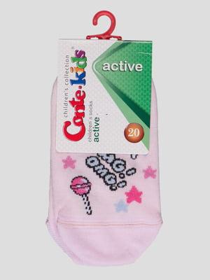 Носки светло-розовые в рисунок | 4366790