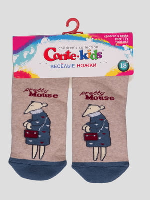 Шкарпетки бежеві з малюнком махрові | 4366775
