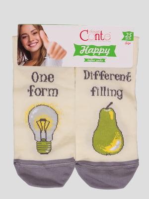 Шкарпетки кремового кольору з малюнком | 4366487