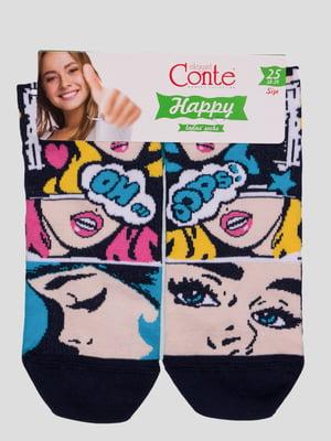 Шкарпетки темно-сині з малюнком | 4366489