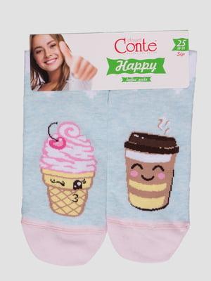 Шкарпетки світло-бірюзові з малюнком | 4366485